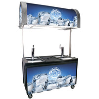 Gray IRP-2060 IDC Ice Down Mobile Draft Cart with Illuminated Canopy - (2) 1/2 Keg