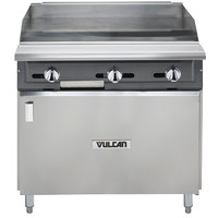 Vulcan VGMT36B-NAT V Series 36 inch Natural Gas Heavy-Duty Thermostatic Range with Griddle Top and Cabinet Base - 90,000 BTU