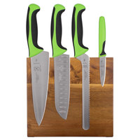 Mercer M21982GR Millennia 5-Piece Acacia Magnetic Board and Green Handle Knife Set