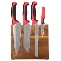 Mercer M21982RD Millennia 5-Piece Acacia Magnetic Board and Red Handle Knife Set