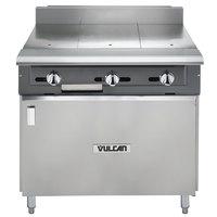 Vulcan V336HB-LP V Series Liquid Propane 3 Burner Heavy-Duty Range with 36 inch Hot Top and Cabinet Base - 90,000 BTU