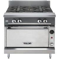 Vulcan V4B36S-NAT V Series Natural Gas 4 Burner 36 inch Heavy-Duty Range with Standard Oven - 182,000 BTU