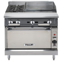 Vulcan V2BG4TS-NAT V Series Natural Gas 36 inch 2 Burner Heavy-Duty Thermostatic Range with 24 inch Right Side Griddle and Standard Oven Base - 176,000 BTU