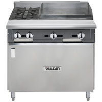 Vulcan V2BG4TB-NAT V Series Natural Gas 36 inch 2 Burner Heavy-Duty Thermostatic Range with 24 inch Right Side Griddle and Cabinet Base - 126,000 BTU
