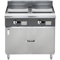 Vulcan V2P36B-LP V Series Liquid Propane 36 inch Heavy-Duty Range with 2 Plancha Tops and Cabinet Base - 35,000 BTU
