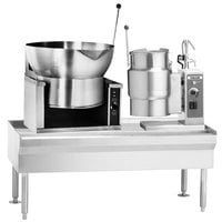 Vulcan VEKT64/B166 64 inch Table with (1) 16 Gallon Braising Pan and (1) 6 Gallon Electric Tilting Kettle - 208V, 15 kW