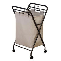 Antique Bronze Mobile Rectangular Laundry Hamper with Removable Polyester Bag