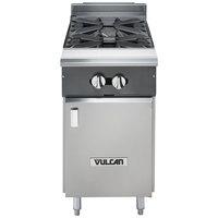 Vulcan V2B18B-NAT V Series Natural Gas 2 Burner 18 inch Heavy-Duty Range and Cabinet Base - 66,000 BTU