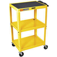 Luxor / H. Wilson W42AYE Yellow Metal 3 Shelf A/V Utility Cart 18 inch x 24 inch x 42 inch - Adjustable Height