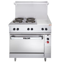 Vulcan EV36-S-4FP-12G-480 Endurance Series 36 inch Electric Range with 4 French Plates, 12 inch Griddle, and 1 Standard Oven - 480V, 16.4 kW