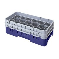 Cambro 17HS318186 Camrack 3 5/8 inch High Navy Blue 17 Compartment Half Size Glass Rack