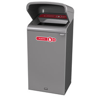 Rubbermaid 1961722 Configure 23 Gallon Stenni Gray 1 Stream Plastic Outdoor Recycling Container with Rain Hood