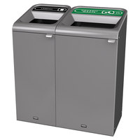 Rubbermaid 1961754 Configure 38 Gallon Stenni Gray 2 Stream Landfill and Organic Waste Indoor Waste / Recycling Station