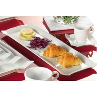 CAC TMS-51 Times Square 15 1/2 inch x 10 inch Bright White China Rectangular Platter - 12/Case