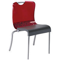 Grosfillex XD203207 / US203207 Krystal Red Resin Indoor Stacking Chair