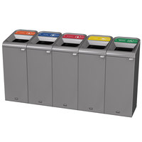 Rubbermaid 1961773 Configure 75 Gallon Stenni Gray 5 Stream Glass, Paper, Plastic, Cans, and Organic Waste Indoor Recycling Station