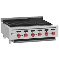 Wolf ACB36-NAT Natural Gas Low Profile 36 inch Heavy-Duty Radiant Gas Countertop Charbroiler - 102,000 BTU
