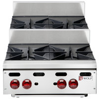 Wolf AHP424U-LP Achiever Liquid Propane 24 inch 4 Burner Step Up Countertop Range - 110,000 BTU