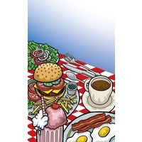 8 1/2 inch x 11 inch Menu Paper - Diner Theme Cover - 100 / Pack