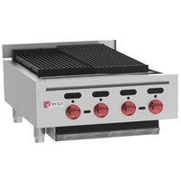 Wolf ACB25-NAT Natural Gas Low Profile 25 inch Heavy-Duty Radiant Gas Countertop Charbroiler - 68,000 BTU