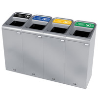 Rubbermaid 1961802 Configure 60 Gallon Stainless Steel 4 Stream Landfill, Paper, Cans, and Organic Waste Indoor Waste / Recycling Station