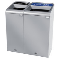 Rubbermaid 1961780 Configure 38 Gallon Stainless Steel 2 Stream Landfill and Mixed Recycling Indoor Waste / Recycling Station