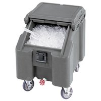 Cambro ICS100L4S191 Granite Gray Sliding Lid Portable Ice Bin - 100 lb. Capacity