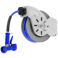 T&S B-7143-04 Stainless Steel Open Hose Reel with 1/2 inch x 50' Hose and Rear Trigger Water Gun - 9/16 inch Flow Orifice