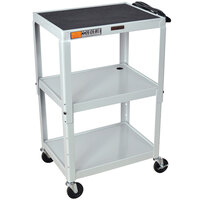Luxor / H. Wilson W42AGYE Gray Metal 3 Shelf A/V Utility Cart 18 inch x 24 inch x 42 inch - Adjustable Height