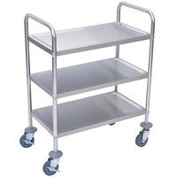 Luxor / H. Wilson L100S3 Stainless Steel 3 Shelf Utility Cart - 16 inch x 26 inch x 35 inch