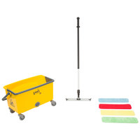 18 inch Microfiber Wet Mop Kit with Color-Coded Pads and Mop Bucket