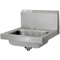Advance Tabco 7-PS-20-NF Stainless Steel Hand Sink with Backsplash - 17 inch x 17 inch