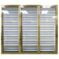 Styleline CL3072-NT Classic Plus 30 inch x 72 inch Walk-In Cooler Merchandiser Doors with Shelving - Anodized Bright Gold, Right Hinge - 3/Set