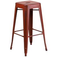 Distressed Kelly Red Stackable Metal Bar Height Stool with Drain Hole Seat
