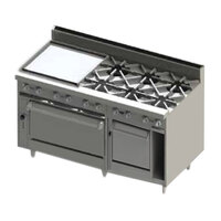 Blodgett BR-24G-6-2436C-NAT Natural Gas 6 Burner 60 inch Manual Range with 24 inch Left Side Griddle, 1 Convection Oven, and 1 Standard Oven - 288,000 BTU