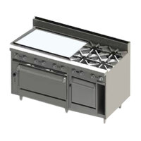Blodgett BR-36GT-4-2436C-LP Liquid Propane 4 Burner 60 inch Thermostatic Range with 36 inch Left Side Griddle, 1 Convection Oven, and 1 Standard Oven - 252,000 BTU