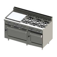 Blodgett BR-24G-6-2436-NAT Natural Gas 6 Burner 60 inch Manual Range with 24 inch Left Side Griddle and Double Oven Base - 288,000 BTU