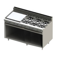 Blodgett BR-24GT-6-NAT Natural Gas 6 Burner 60 inch Thermostatic Range with 24 inch Left Side Griddle and Cabinet Base - 228,000 BTU