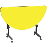 Correll FT2448HR-38 Deluxe 24 inch x 48 inch Half Round Yellow High Pressure Adjustable Height Flip Top Table