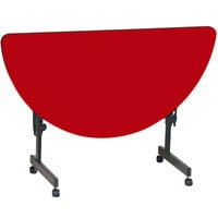Correll FT2448HR-35 Deluxe 24 inch x 48 inch Half Round Red High Pressure Adjustable Height Flip Top Table