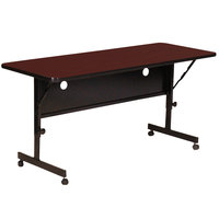 Correll FT2448-21 Deluxe 24 inch x 48 inch Cherry High Pressure Adjustable Height Flip Top Table