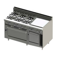 Blodgett BR-6-24G-2436C-LP Liquid Propane 6 Burner 60 inch Manual Range with 24 inch Right Side Griddle, 1 Convection Oven, and 1 Standard Oven - 288,000 BTU