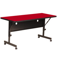 Correll FT2460-35 Deluxe 24 inch x 60 inch Red High Pressure Adjustable Height Flip Top Table
