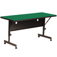 Correll FT2460-39 Deluxe 24 inch x 60 inch Green High Pressure Adjustable Height Flip Top Table