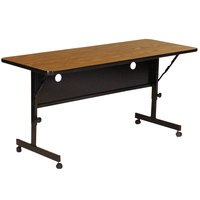 Correll FT2472-06 Deluxe 24 inch x 72 inch Medium Oak High Pressure Adjustable Height Flip Top Table