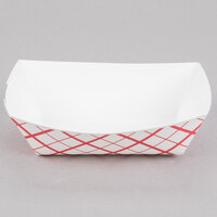 #100 1 lb. Red Check Paper Food Tray - 1000 / Case