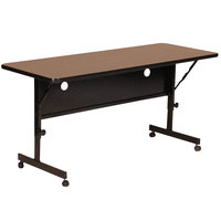 Correll FT2460-01 Deluxe 24 inch x 60 inch Walnut High Pressure Adjustable Height Flip Top Table