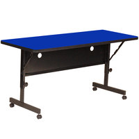 Correll FT2460-37 Deluxe 24 inch x 60 inch Blue High Pressure Adjustable Height Flip Top Table