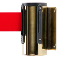 Brass Wall-Mount Stanchion with 7' Red Retractable Belt