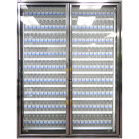 Styleline CL2472-2020 20//20 Plus 24 inch x 72 inch Walk-In Cooler Merchandiser Doors with Shelving - Anodized Bright Silver, Right Hinge - 2/Set